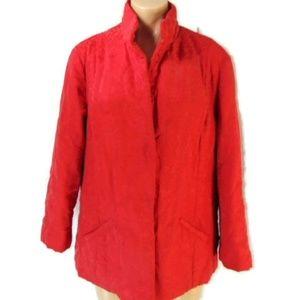 J Jill Red Silk Blend Jacket L Snap Front Jacquard